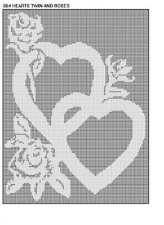 664 Hearts and Roses Filet Crochet Doily Mat Runner Afghan Pattern | CROCHETBYDASMADE - Patterns on ArtFire