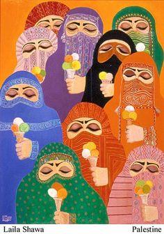 Shawa, Laila (b. 1940) • Palestine 'The Prisoners' Oil on canvas, 1988 108.5 x 68.5 cm