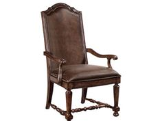 Shop for Bernhardt Upholstered Arm Chair, 317-542, and other Dining Room Chairs at Westside Foundry in Atlanta, Ga - servicing the Atlanta, Alpharetta, Marietta, Peachtree City, Suwanee, Kennesaw, Macon, Athens GA areas. Upholstered Seat And Back In Standard Brown Leather With Nailhead Trim. No Fabric Or Leather Options. Turned Stretchers.
