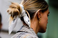 Style a silk scarf around a Bun for an easy styled updo