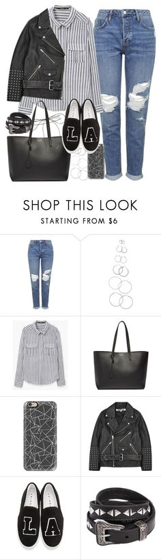 """""""Outfit with mom jeans"""" by ferned ❤ liked on Polyvore featuring Topshop, Forever 21, MANGO, Yves Saint Laurent, Casetify, McQ by Alexander McQueen, Joshua's and Lilou"""