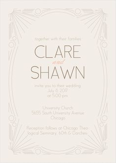 The Framed Art Deco Wedding Invitation