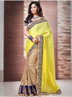 Beautiful Light Yellow Net Saree With Pearl Work. Product Code : SAAA1772 Saree.com