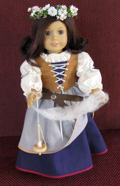 Renaissance Faire peasant for 18 inch doll clothes like American Girl, spinning, Fair, Folk, Fairytale. $45.00, via Etsy.