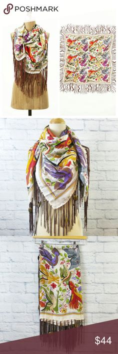"Anthropologie Silk Scarf  Bird Print {Flawed} Beautiful Silk Anthropologie Bird Print Scarf!    Measures - 40"" Square   Please note: Flawed - Run in fabric, multiple? areas. Barely noticeable. All tassels intact. Anthropologie Accessories Scarves & Wraps"