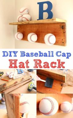 room diy men I built this hat rack as a fun project to help celebrate baseball season! This project is perfect for the kids room, game room or anywhere else youd love to sh Baseball Hat Racks, Baseball Cap, Baseball Season, Baseball Display, Baseball Sayings, Baseball Snacks, Baseball Cookies, Baseball Videos, Twins Baseball