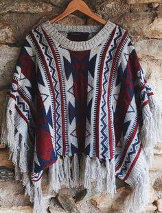 Aztec Print Poncho   Fringe Poncho, Tribal Poncho, Boho Fashion, Gypsy Clothing