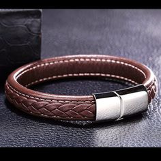 Braided Leather Bracelet for Men Magnetic Clasp Genuine Leather