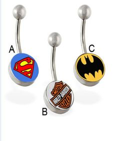 http://www.aliexpress.com/item/Mixing-logos-Supperman-Batman-HARLEY14g-navel-rings-belly-button-rings-body-jewelry-body-piercing/535190219.html  Mixing 3 symbol logos14g navel rings belly button rings body jewelry body piercing-in Body Jewelry from Jewelry on Aliexpress.com