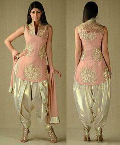 Georgette In Kurta & Dupatta, Simar In Dhoti Salwar Salwar Designs, Kurti Designs Party Wear, Blouse Designs, Punjabi Dress, Pakistani Dresses, Indian Dresses, Indian Outfits, Dhoti Salwar Suits, Patiala