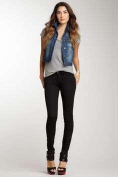 Night veil skinny pant + blue jean vest...perfect go-to outfit