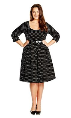 Looking for plus sizes party dresses? Check out Retro Polka Dress from Oasis Plus Size, plus size clothing wholesaler in USA. Plus Size Party Dresses, Trendy Dresses, Plus Size Outfits, Dresses Dresses, Wholesale Boutique Clothing, Looks Plus Size, Denim And Lace, City Chic, Retro Dress