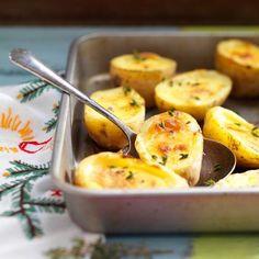 Gevulde aardappels met room, knoflook & tijm recept - Jamie magazine