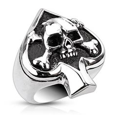 Shop for Stainless Steel Spade Ace Crossbone Death Skull Cast Ring. Get free delivery On EVERYTHING* Overstock - Your Online Jewelry Shop! Skull Jewelry, Jewelry Rings, Jewelry Watches, Skull Rings, Silver Jewelry, Jewelry Roll, Jewellery, Gothic Jewelry, Body Jewelry