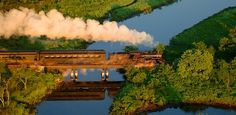 Steam Train on Bridge - Connecticut River Valley Train and Boat ride with hike to castle