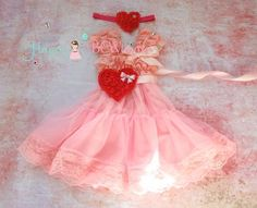 Valentine dress, Sweetheart Pink Hearts Chiffon Lace Dress