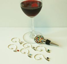 Wine Bottle Stopper Wine Glass Charms by JustforJoyCreations, $25.00