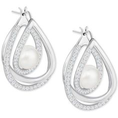 Swarovski Silver-Tone Pave and Imitation Pearl Drop Earrings ($119) ❤ liked on Polyvore featuring jewelry, earrings, silver, pave drop earrings, fake pearl drop earrings, silvertone earrings, imitation pearl earrings and pave earrings