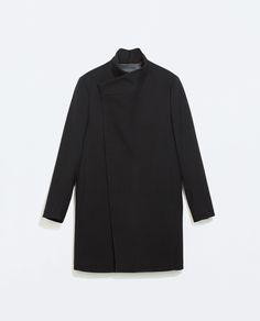 BLACK FUNNEL COLLAR COAT - Coats and Trench coats - MAN | ZARA Germany