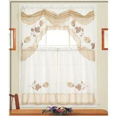 ME Daleen 3 PC Kitchen Curtain Set Beige