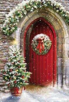 Merry Christmas Pictures, Christmas Artwork, Vintage Christmas Images, Christmas Drawing, Christmas Paintings, Christmas Wallpaper, Christmas Night, Christmas Scenes, Noel Christmas