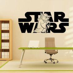 Wall Decals Vinyl Sticker Decal Art Home Decor Mural Star Wars Logo Yoda Children Nursery Room Bedroom Office Window