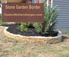 Nashville Garden Border made of Stone – flagstone garden border - Modern Nashville, Garden Borders, Outdoor Living, Outdoor Decor, Flagstone, Garden Stones, Lawn And Garden, Beautiful Gardens, Natural Stones