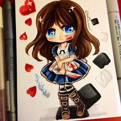 'We're all mad here~' Chibi of Alice, from American McGee's Alice! I had to draw her because It's my favourite version of Alice in wonderland. I love dark twisted things *o*~ #alice #paigeeworld #copic #copicart #copicmarker #aliceliddell #wonderland #aliceinwonderland #americanmcgee #fanart #chibi #kawaii #traditionalart