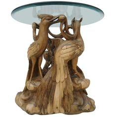 Extroardinary Carved Root Wood SideTable of Peacocks - Indonesian Antique