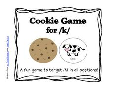 K Articulation Cookie Game preschool - sooo cute, natural transition to phrases! Articulation Therapy, Articulation Activities, Speech Therapy Activities, Speech Therapy Games, Speech Language Therapy, Speech And Language, Apraxia, Speech Language Pathology, Therapy Ideas