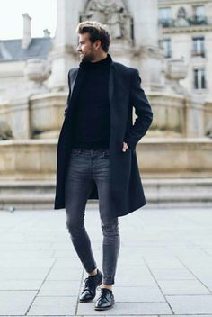 Monochrome combo with a black turtleneck sweater black topcoat gray skinny denim no show socks black shoes. Monochrome combo with a black turtleneck sweater black topcoat gray skinny denim no show socks black shoes. Turtleneck Shirt, Black Turtleneck, Fashion Mode, Look Fashion, Fashion Details, Fashion Ideas, Mens Fashion 2018, Fashion Styles, Man Style Fashion