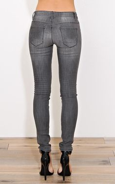 Vintage Wash Grey Skinny Jeans - Denim - Shop
