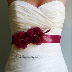 Wedding Sash Belt MALLORY  Two Burgundy Flowers on by BridalShoppe, $89.00