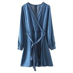 39fa40ee8 Women Blue Wrap V Neck Tie Waist Long Sleeve Casual Mini Autumn Denim Dress  New Fashion Brief Slim Basic A Line Clothing