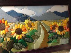Sunflowers in cloth Hand Applique, Applique Patterns, Applique Quilts, Applique Designs, Quilting Designs, Quilt Patterns, Fabric Art, Fabric Crafts, Sunflower Quilts