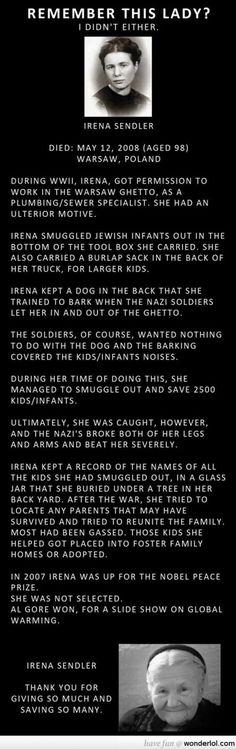 Amazing Irena Sendler.