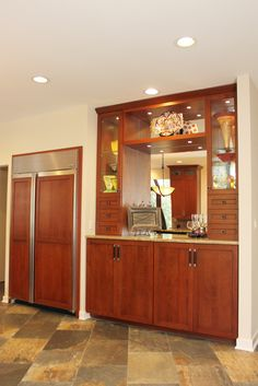 Rustic Craftsman Cherry Kitchen with Contrasting Espresso Island in Bel Air, MD. Built in Display Cabinet. Cherry Kitchen, Refacing Kitchen Cabinets, Before After Kitchen, Kitchen Cookware Sets, Cabinet, Kitchen, Custom Kitchen Cabinets, Home Decor, Kitchen Linens Sets