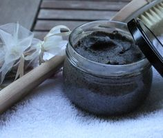 Cellulite body scrub:  Ingredients:  1/4 cup coffee grinds 1/4 cup coconut oil Method:  Melt the coconut oil until it's completely liquid. Stir in the coffee grinds and place in a clean jar. Let sit in a cool place for a few hours to allow the oil to solidify again, stirring occasionally to ensure that the coffee grinds are evenly distributed through the oil.