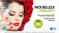 #PROMOCIONES del mes de #Mayo ❤ PACK BELLEZA ¡FERIA 2017! Bronceado Instantáneo DHA + Depilación Facial + Manicura por 30€/pack #feria #sevilla #oferta #belleza