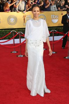 Zoe Saldana in Givenchy Couture  2012 SAG Awards Red Carpet.