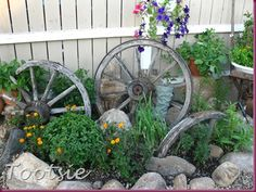 Love this garden spot, wish I had some old wheels like these.