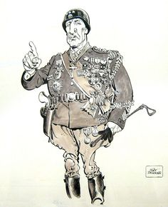 George C. Scott as General George Patton by Mort Drucker, caricature cartoon portrait drawing face stylized