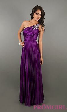 How pretty is this dress?! I like the applique on the shoulder. Kinda looks like peacock feathers. Purple One Shoulder Gown