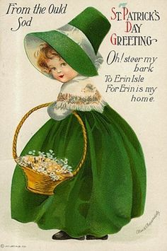A St. Patrick's Day greeting from the ould sod. #St_Patricks_Day #cards #vintage #illustrations