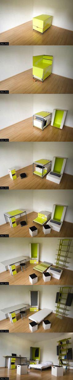 Una cama, escritorio, armario, estantería....cabe en una caja