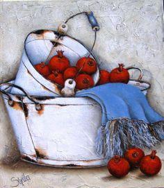 Stella Bruwer Decoupage Vintage, Paper Art, Canvas Paper, Canvas Art, Stella Art, Mini Paintings, Watercolor Paintings, Acrilic Paintings, Country Paintings