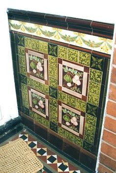 Victorian floral tiles in porch in Wolverhampton Victorian Porch, Victorian Tiles, Antique Tiles, Porch Wall Tiles, Exterior Wall Tiles, Fireplace Tiles, Azulejos Art Nouveau, Art Nouveau Tiles, Art Deco