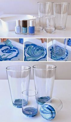 DIY Nail Polish Crafts - Marbled Glassware - Easy and Cheap Craft Ideas for Girl. Handwerk ualp , DIY Nail Polish Crafts - Marbled Glassware - Easy and Cheap Craft Ideas for Girl. DIY Nail Polish Crafts - Marbled Glassware - Easy and Cheap Craft . Creative Crafts, Fun Crafts, Crafts Cheap, Decor Crafts, Cheap Art, Creative Kids, Home Decor, Diy Nagellack, Nagellack Trends