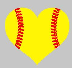 Heart softball vinyl car decal heart baseball by YoureSuchATees