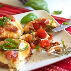 Healthy pizza bruschetta recipe with whole grain bread, cheese and fresh herbs. Summer entertaining, BBQ, snack, lunch or dinner.
